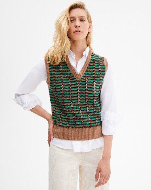 Sleeveless tricolour stitch openwork V-neck sweater - Peppermint/camel