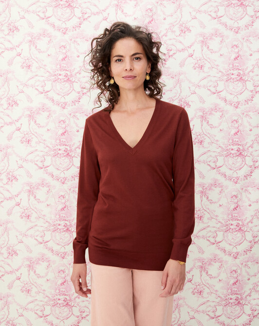 Extrafine oversized V-neck pullover - Chestnut