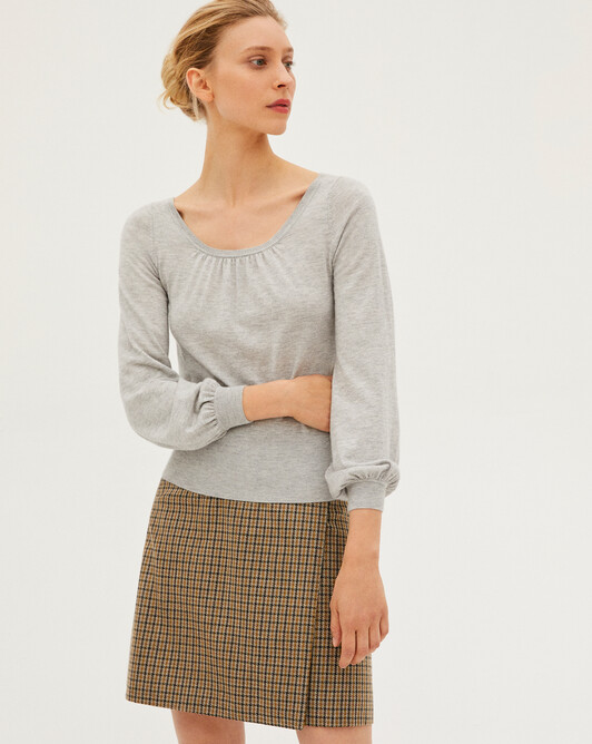Extrafine blouse sleeves low-cut neckline sweater - Frost grey
