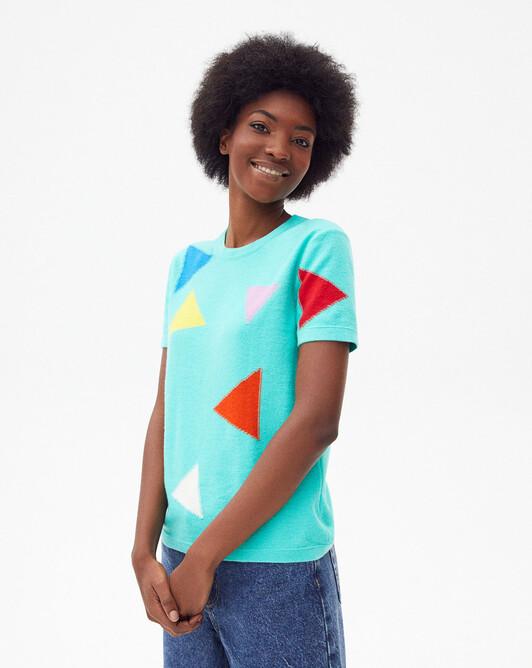 Short-sleeved geometric intarsia crew-neck sweater - Palm beach