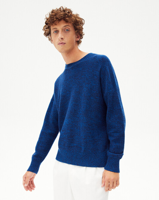 Marl crew-neck sweater - Navy blue/bosphorus marled