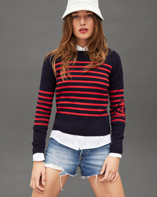 Striped and anchor intarsia crew-neck sweater - Navy blue/ruby red