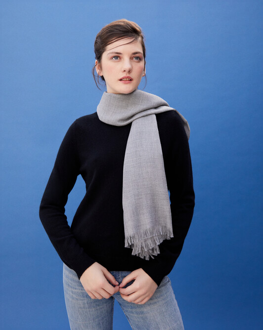 Cashmere voile scarf 150 cm x 55 cm - Flannel grey