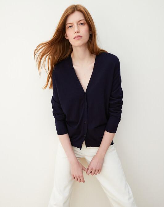 Contemporary extrafine cardigan - Navy blue