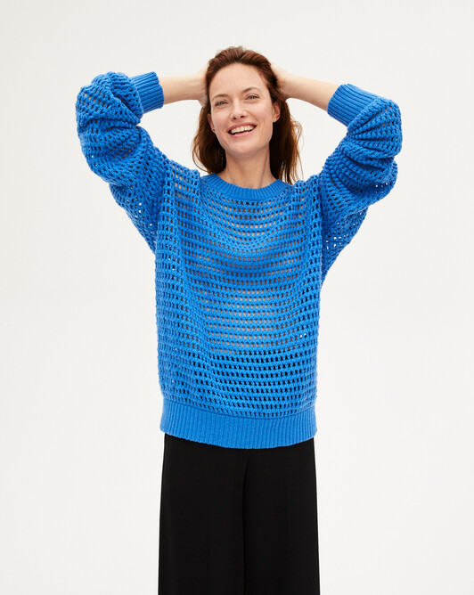 Giant fishnet crew-neck sweater - Azure blue