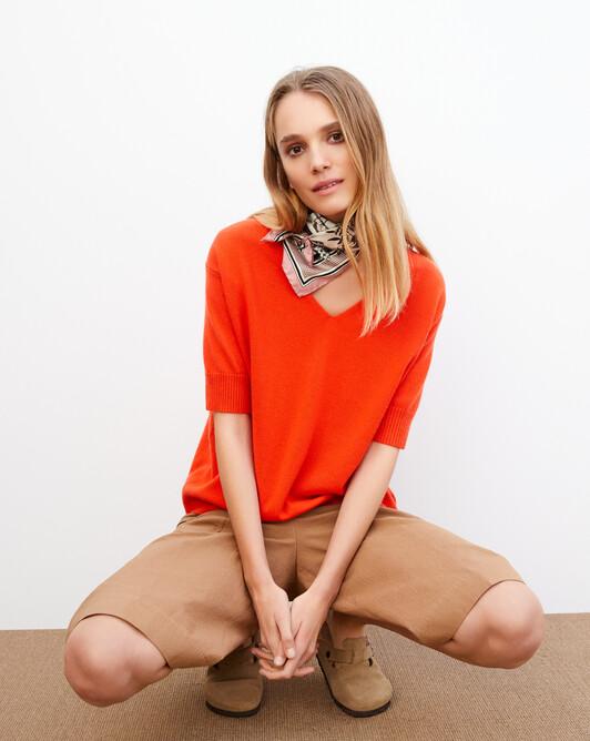 Contemporary short-sleeved maxi V-neck - Tan orange