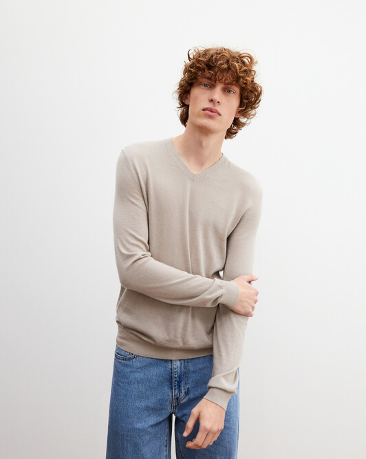 Contemporary extrafine V-neck pullover - Rock beige