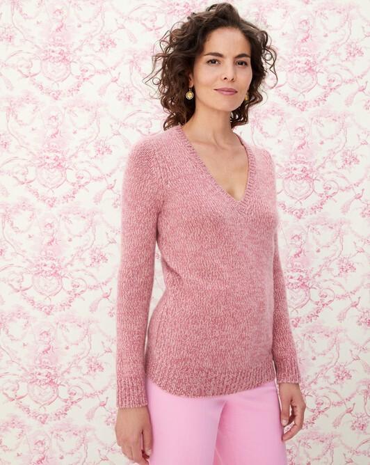 Pull V 12 fils - Mouline bois de rose/blush