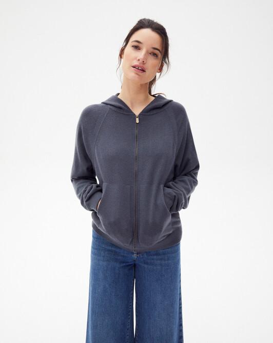 Casual zipped hooded sweatshirt - Incense