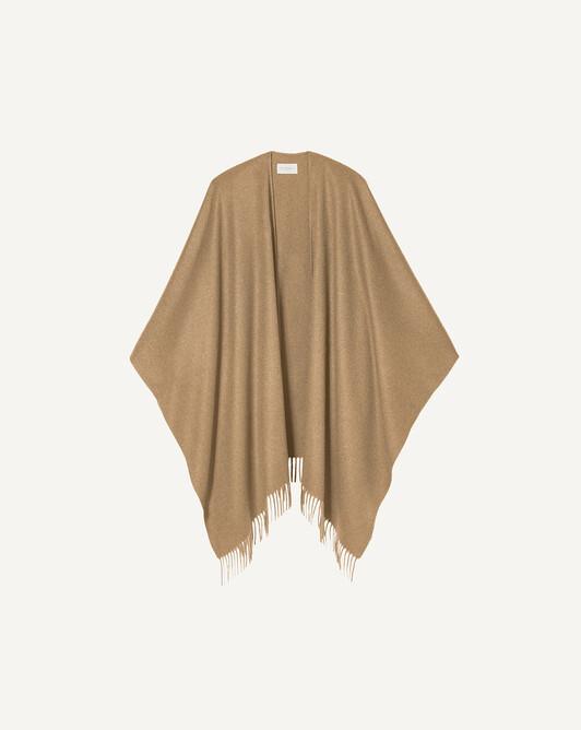 Poncho tissé à franges - Camel