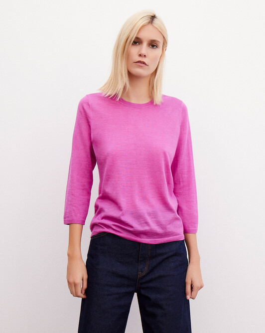 3/4 length-sleeved extrafine crew-neck pullover - Orchid pink