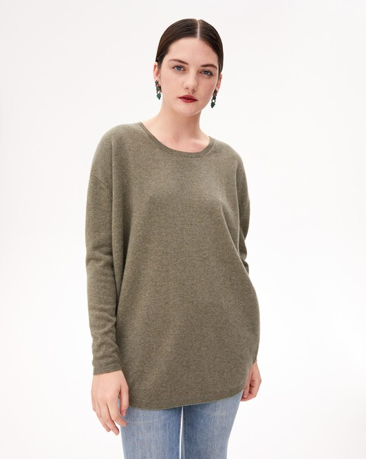 Contemporary maxi crew neck pullover - Khaki