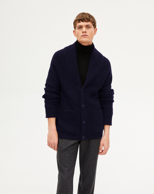 Alpaca/cachmere shwl collar jacket - Navy blue