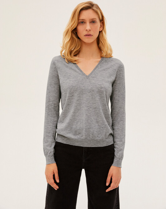 Contemporary extrafine V-neck pullover - Flannel grey