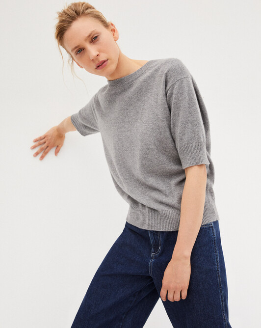 Contemporary short-sleeved maxi crew-neck sweater - Flannel grey