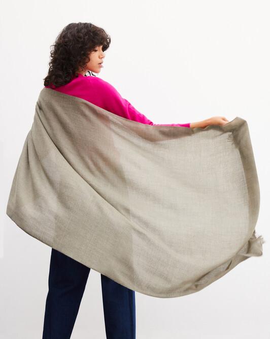 Étole voile de cachemire 180 cm x 85 cm - Kaki