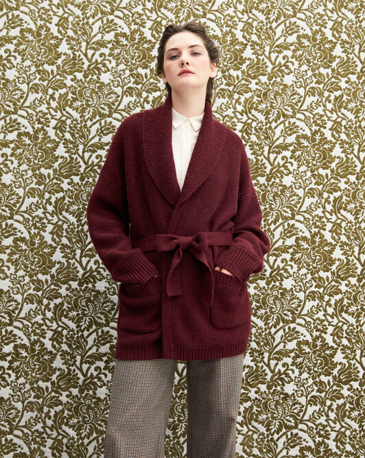 Alpaca/cashmere shawl collar jacket - Azuki