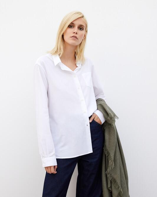 Chemise coton bio a poche - Blanc