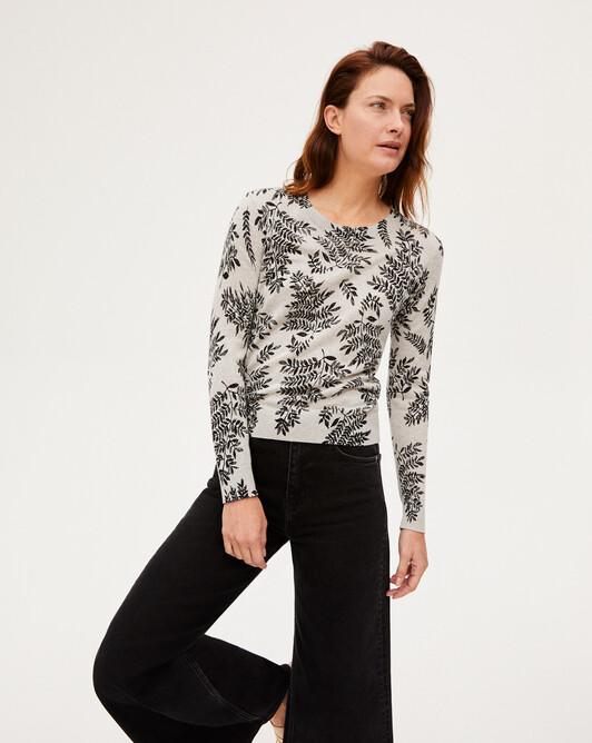 Extrafine fern print crew-neck sweater - Frost grey