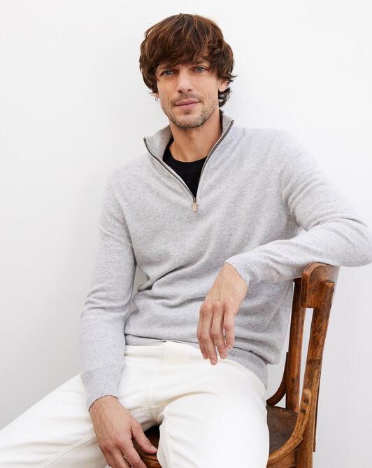 2-ply half-zip pullover - Frost grey