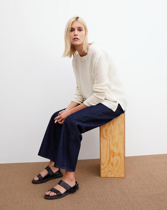 Side split mesh crew neck pullover - Autumn white
