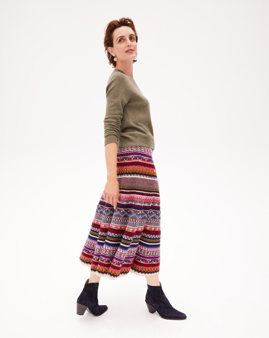 Fair isle multicoloured jacquard skirt - Multicoloured