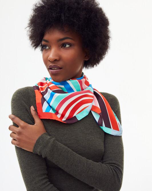Rainbow silk square scarf 70 x 70 cm - Multicoloured