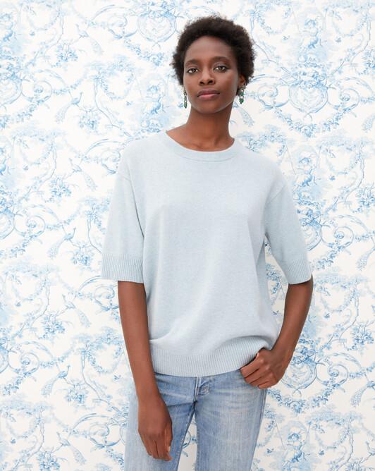 Contemporary short-sleeved maxi crew neck pullover - Jean