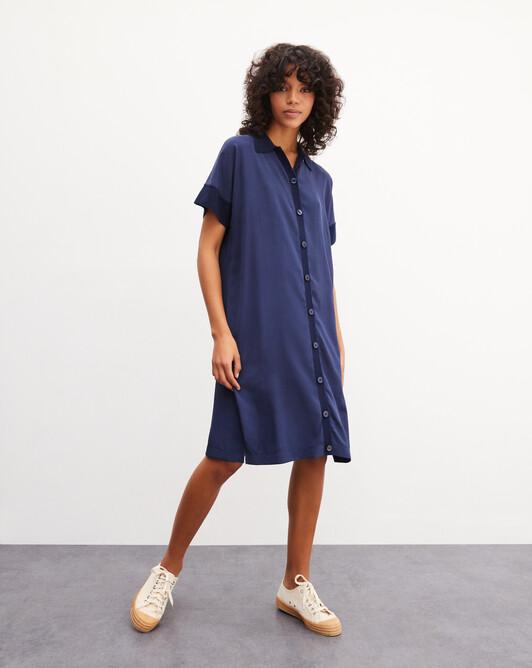 Robe chemise manches courtes tricot-soie - Marine