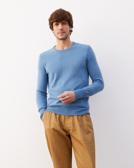 Classic crew neck pullover - Egyptian blue