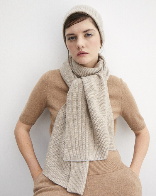 Metallic ribbed scarf 185 cm x 32 cm - Gold frost grey