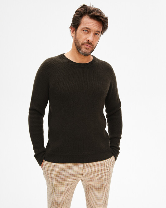 Ribbed crew neck pullover - Ebony