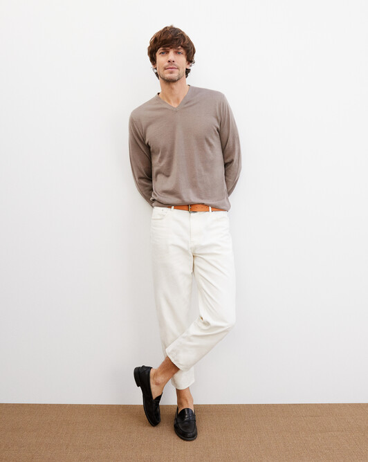 Contemporary extrafine V-neck pullover - Coriander