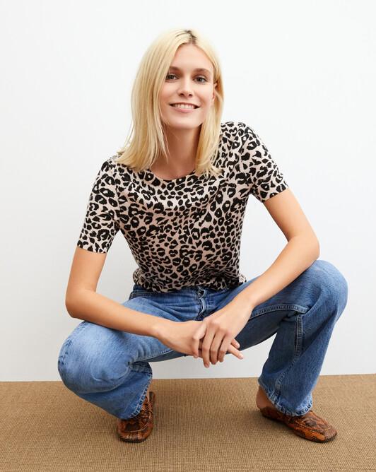 Ras de cou manches courtes imprimé léopard - Porcelaine