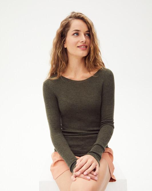Ras de cou ultrafin sans coutures - Kaki