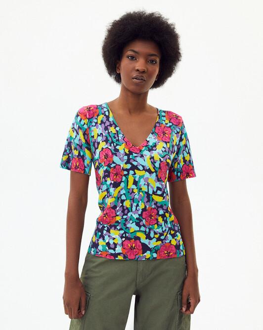Pull V manches courtes imprimé florida - Multicoloris