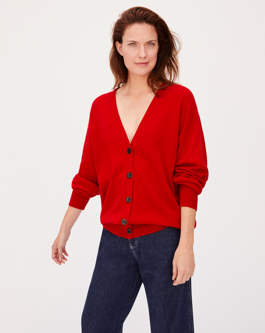 Cashmere wool Must-Have cardigan - Ruby red