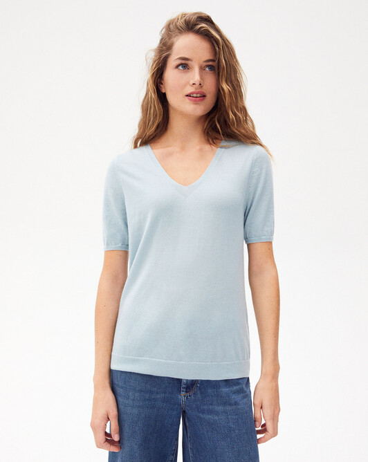Extrafine short-sleeved v-neck sweater - Jean