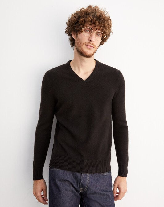 4-ply V-neck pullover - Ebony