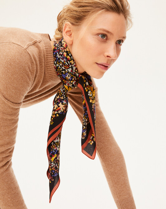Flowers all-over mini silk square scarf - Ebony