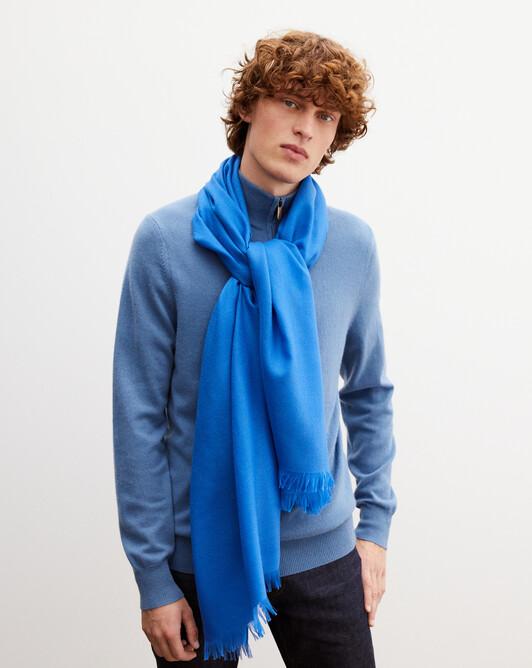 Cashmere voile stole 180 cm x 85 cm - French blue