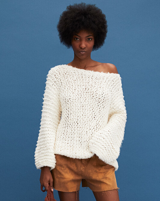 Ras de cou tricot main - Naturel