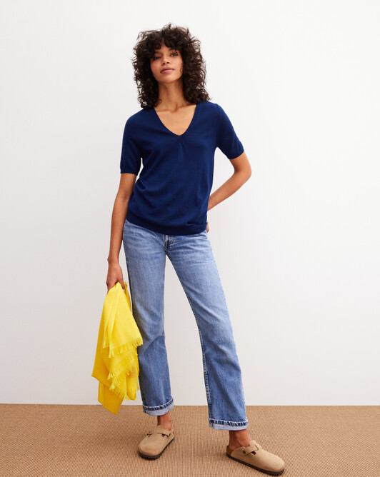 Contemporary extrafine short-sleeved V-neck - Admiral blue