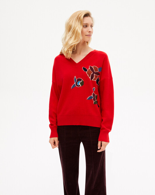 Persian intarsia V-neck sweater - Ruby red