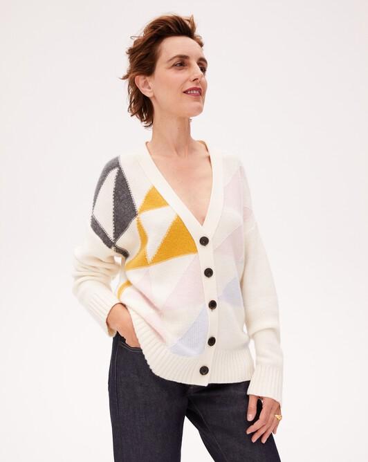 Geometric intarsia cardigan - Autumn white