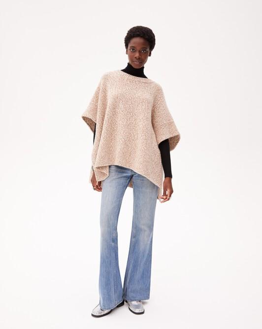 Marl honeycomb poncho - Marled camel/autumn white