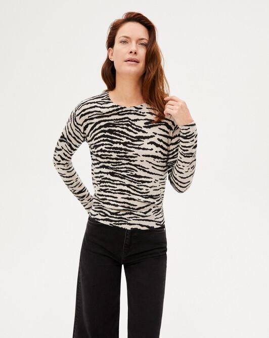 Extrafine tiger print crew-neck sweater - Turtledove beige