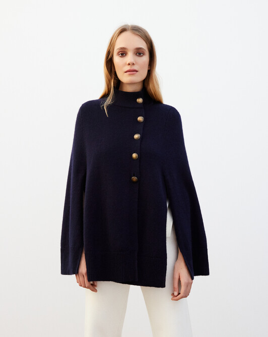 Turtleneck cape - Navy blue