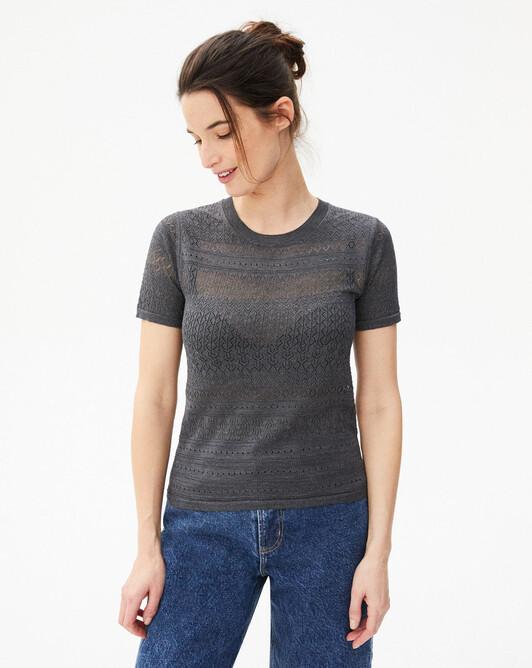 Mini pointelle short-sleeved crew-neck sweater - Grey