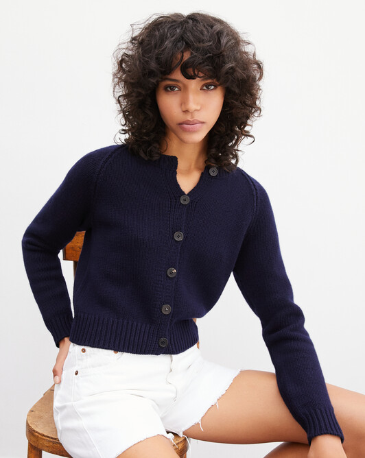 Raglan-sleeved cardigan - Navy blue